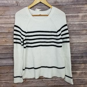 Soft Joie Womens White Navy Blue Striped Pullover